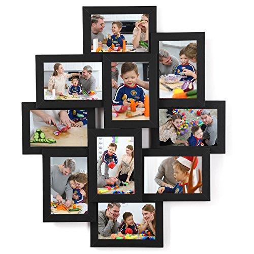 SONGMICS Marco de Fotos Collage para 10 Fotos de 10 x 15 cm, Hecho de Tableros MDF, Montaje en Pared, para Galería de Fotos, Requiere Ensamblaje, Negro RPF20BK