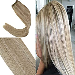 YoungSee 14inch Sew in Weft Human Hair Extensions Ash Blonde Highlight with Bleach Blonde Dip Dyed Wefts Weave Human Hair Bundles Double Weft 100G