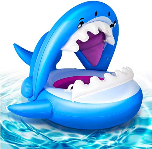 DC Wesley La Nueva Piscina Inflable del Bebé del Bebé Que Nadan Tiburones Pontón Y La Sombra del Dosel Niños Y Niñas Azul Juguetes De Agua Al Aire Libre Y Regalos For Los Niños 9-36 Meses Flotando