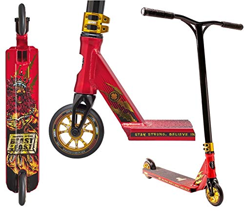 Lucky Prospect Signature Stunt-Scooter - Patinete infantil (90 cm de altura, incluye pegatina Fantic26), color rojo