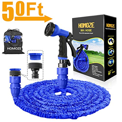 "HOMOZE Expandable Garden Hose Pipe 50FT Garden Hose with 3/4"", 1/2"" Fittings, Anti-leakage Flexible Expanding Hosepipe with 8 Function Spray Nozzle (Blue)"