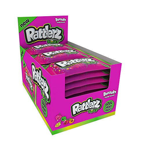 Bazooka Rattlerz Sours Fruity Chewy Sweets – 24 Packs of 5 Assorted Flavours in Each Pack | Sweets in Bulk | Party Bag fillers