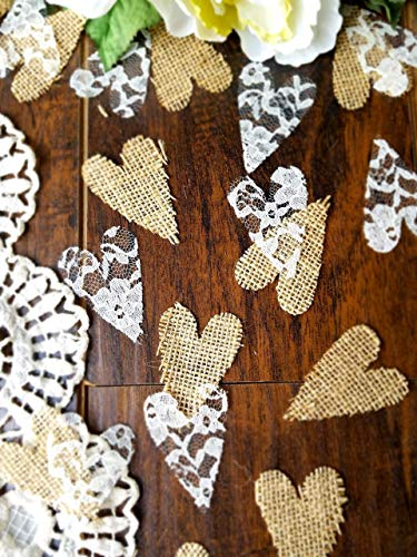 Burlap and Lace Heart Confetti, Rustic Wedding Decorations, Country Bridal Shower Decorations, Rustic Baby Shower Decorations