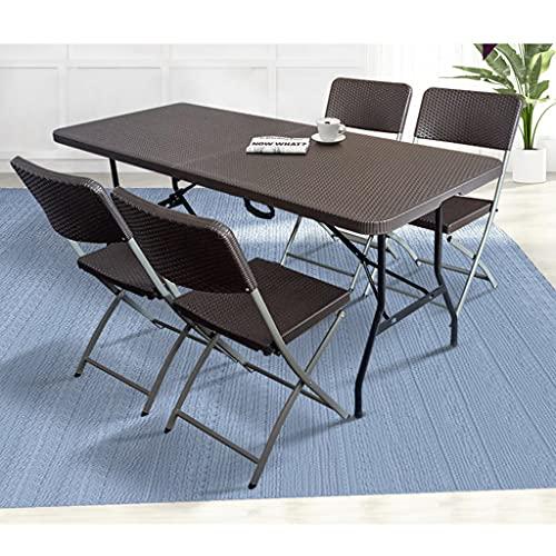 Tragbarer Klapptisch, klappbarer Gartencampingtisch und -Stuhl im Freien, einfache Stalltisch- und Stuhlkombination, Hocker kann in den Tisch gestellt Werden