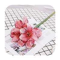 pump-kawayi 人工4ヘッドフリースクリビア造花偽花家族の結婚式の装飾小道具の装飾 -Rose Red-S