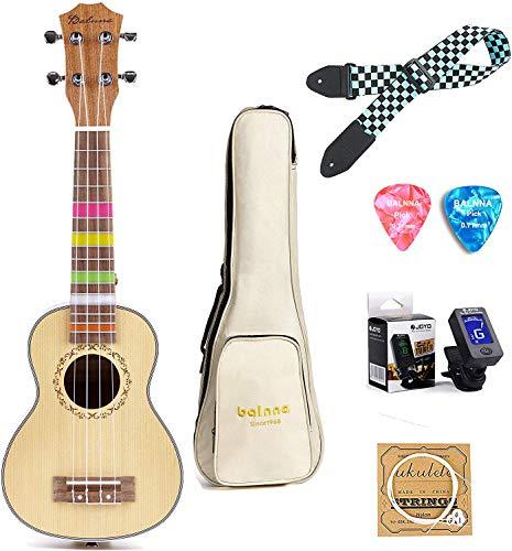 Concert Ukulele 23 inch, Balnna Traditional ukulele for beginner, Hawaiian Guitar ukalalee pack with Gig Bag & Tuner & Strap & Extra One Set Strings & Picks (Concert, Hawaiian Spruce)