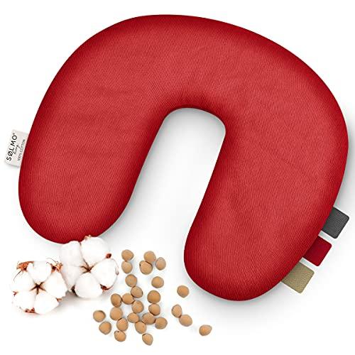 sølmo I Cojín cervical de huesos de cereza para microondas, cojín de calor reconfortante y cojín de frío, botella de agua caliente natural, cojín de granos, calentador de cuello, color rojo