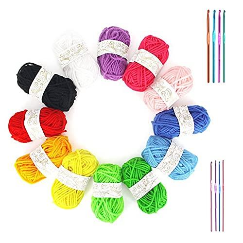 Yesloo kit filo per uncinetto, Set di uncinetti in filato da 20 pezzi, filato colorato, 8 uncinetti in alluminio intrecciato, filo per uncinetto, gomitoli cotone grosso, 2-5.5 mm (A)