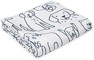 Oliver & Rain Baby Swaddle Blanket - Newborn 100% Organic Cotton Muslin, Dog Print