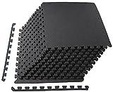 BalanceFrom Puzzle Exercise Mat with EVA Foam Interlocking Tiles, 1/2' Thick, 48 Square Feet, Black