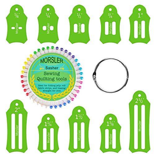 Best Review Of Jelly Roll Sasher Tool Set, 10 Pcs Multi-Sizes Sasher for Folding Fabric and Biasing Strips, Come with 40 pcs of Multi-color Quilting Pins and Storage Chain, 1/8″, 1/4″, 1/2″, 3/4″, 1″, 1-1/8″, 1-1/4″