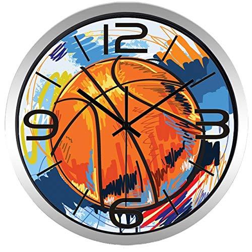 Wanduhr Fußball Basketball Bunte Malerei Wanduhr Für Jungen Männer Zimmer, Super Slient Qualität Heiße Verkaufsuhr 10 Zoll B137S