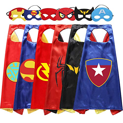 Ouwen Fun Popular Outdoor Best Cool Top Toys for 3-10 Year Old Boys, Superhero Cape and Mask Set for Kids Boys Toddlers Superheros Toys for Boys Kids Best Gifts for 3-8 Year Old Boys 6P OWUSCM0002