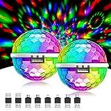 Mini Discokugel,Gvoo USB Party Licht Disco Party Licht Sound Aktiviert 3W RGB Disco Ball mit 4 Adaptern für Handys,Autos und andere USB Geräte (für alle Handys)