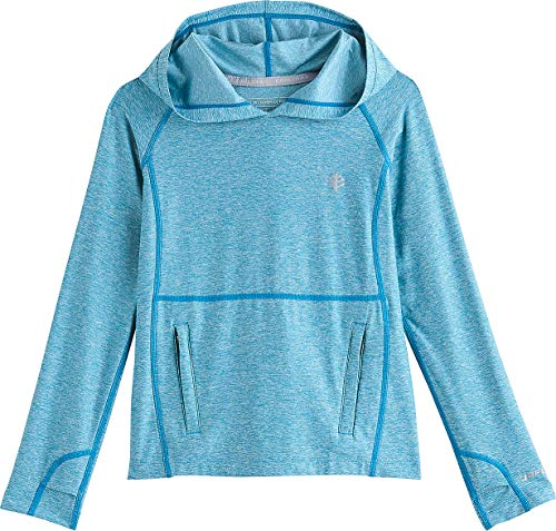 Coolibar UPF 50+ Girl's Tempo Hoodie - Sun Protective (Small- Triumph Blue Heather)