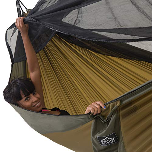 Product Image 1: Everest Double Camping Hammock with Mosquito Net   Bug-Free Camping, Hiking, Backpacking & Survival Outdoor Hammock Tent   Reversible, Integrated, Lightweight, Ripstop Nylon   Khaki/Woodland/Net Black