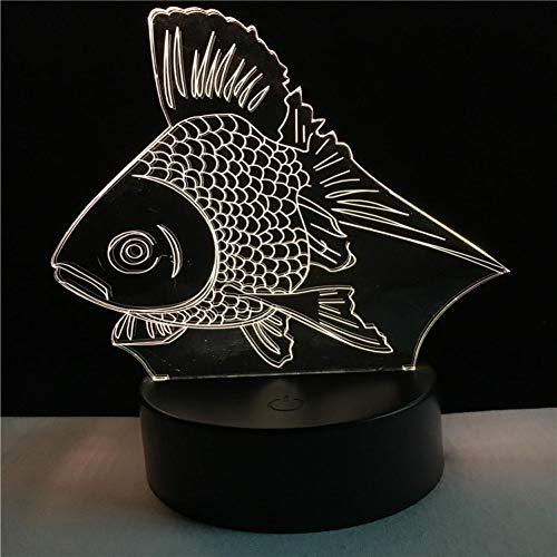 GCCQT vis creatief rood 3D nachtlampje LED nachtlampje met 7 kleuren en touch-schakelaar, USB-oplaadbaar, licht voor Home Decoration en Gifts for Lover,s, vrienden