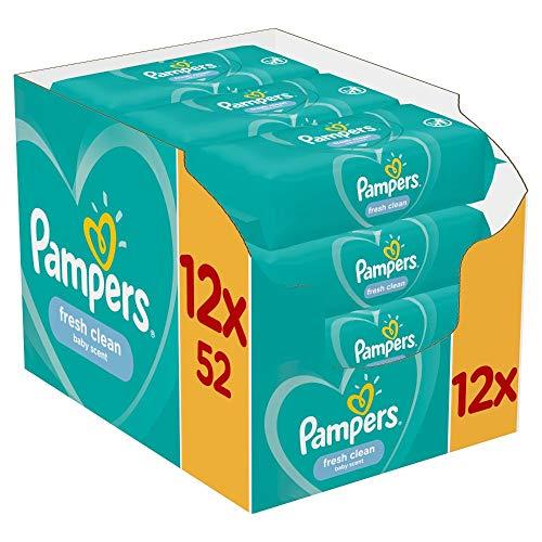 Pampers Fresh Clean Feuchttücher 12 Packungen (12 x 52 Stück), 624 Feuchttücher, Mit Frischem Duft, Dermatologisch Getestet