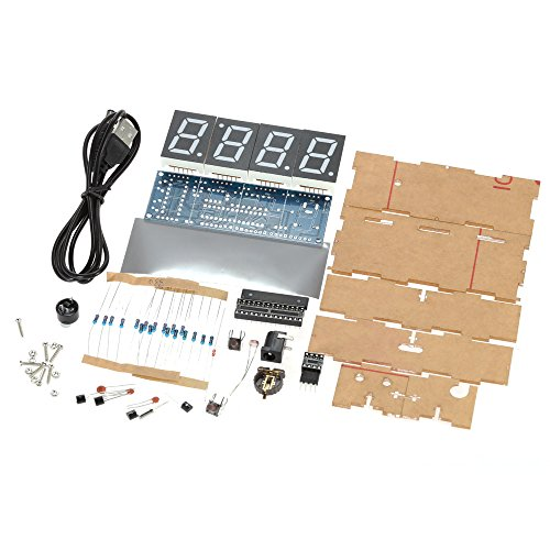 KKmoon DIY Digital LED Clock Kit Compact 4-digit Light Control Temperature Date Time Display with Transparent Case (White)