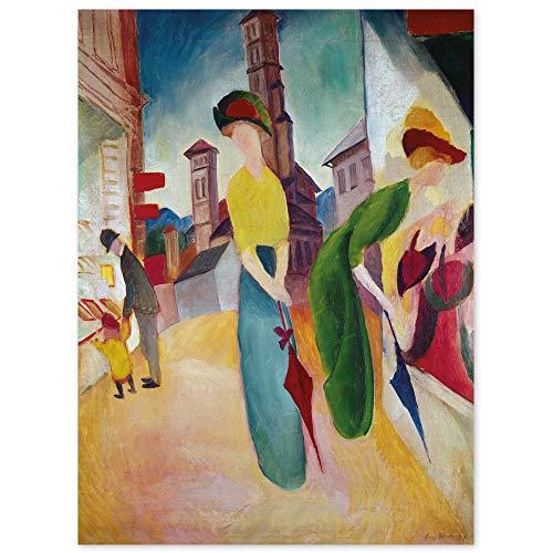 JUNIWORDS Poster, August Macke, Zwei Frauen vor dem Hutladen, 60 x 80 cm