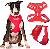 Dexil Limited Caution (Do Not Approach) Red Color Coded Non-Pull Front and Back D Ring Padded and Waterproof Vest Dog Harness Prevents Accidents by Warning Others of Your Dog in Advance (L)