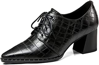 Judy Bacon Women's Classic Genuine Leather Oxford Shoes Pointed Toe Plaid Lace Up Mid Heel Dress Oxfords Shoes
