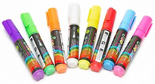 LED-Highlights 8 er Set Neon Stifte Bunt, Marker fluoreszierend 8 mm für LED Werbetafel, Schreibtafel, Leuchttafel, Kreidestift Whiteboard