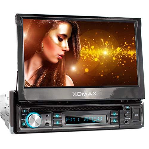 XOMAX XM-D749 Autoradio con Touch Screen 18 cm / 7' I DVD, CD, USB, AUX I RDS I Bluetooth I Collegamenti per fronte e retrocamera, telecomando al volante e subwoofer I 1 DIN