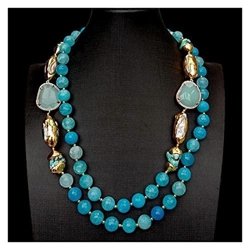 TYUTYU Collar 2 Filas Azul facetado ágata Turquesa cultivado Blanco Biwa Perla Cristal Moda Mujer joyería