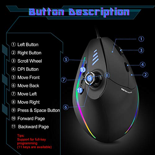 Gaming Mouse with 5 D Rocker, TRELC Ergonomic Mouse with 10000 DPI/11 Programmable Buttons, RGB Vertical Gaming Mice Wired for PC/Laptop/E-Sports/Gamer (Black)