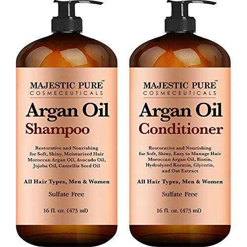 Argan Oil Shampoo and Conditioner, from Majestic Pure, Improve formula Sulfate Free, Vitamin Enriched, Volumizing & Gentle Hair Restoration Formula for Daily Use, for Men and Women, 16 fl oz Each MAJESTIC PURE