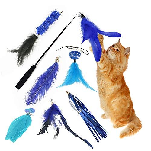 Eastlion 8 Stück Katzen Federspielzeug Teaser Zauberstab mit Glöckchen,Kätzchen Katzenspielzeug Interaktives Federwedel Spielzeug Set mit 7 Ersatz (Dunkelblau)