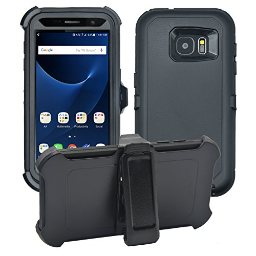 Samsung Galaxy S7 Cover | 2-in-1 Screen Protector & Holster Case | Full Body Military Grade Edge-to-Edge Protection with carrying belt clip| Drop Proof Shockproof Dustproof | Black / Black