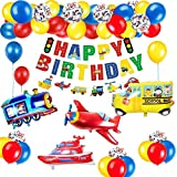 Decoraciones de fiesta de cumpleaños para niños Korins avión tren coche de policía autobús globos de aluminio pancarta de feliz cumpleaños suministros para fiestas de cumpleaños para niños