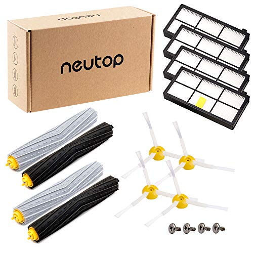 Neutop Replacement Parts Accessories for iRobot Roomba 800 and 900 Series 860 870 877 880 890 805 960 980 Vacuums with 2 Tangle-Free Debris Extractor Sets 4 Hepa Filters 4 Side Brushes 4 Screws