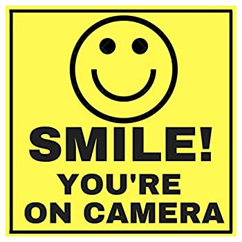 6 Smile Youre ON Camera Indoor Outdoor Stickers Decals - 3  x 3  -Laminated for Your Ultimate Protection & Durability - Self Adhesive Decal - UV Protected & Weatherproof - Heavy Duty