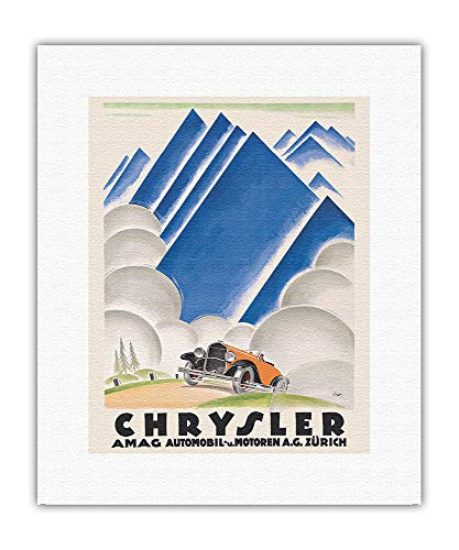 Chrysler constructeur automobile - À travers les Alpes - Affiche de course automobile anciennes de Otto Ernst c.1929 - Impression d'Art sur Toile (roulée) 28 x 36 cm