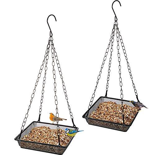 2 Pièces Plateau de Mangeoire d'Oiseaux Suspendu, Mangeoire à Oiseaux Suspendue, Plateau de Graines pour Mangeoires à Oiseaux, Décoration de Jardin Extérieur pour Attirer Oiseaux
