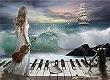 Pintura al óleo digital DIY kit de pintura para adultos y ni?os, decoración del hogar, pintura acrílica,Mujer, tenencia, violín, y, piano, mar(marco)