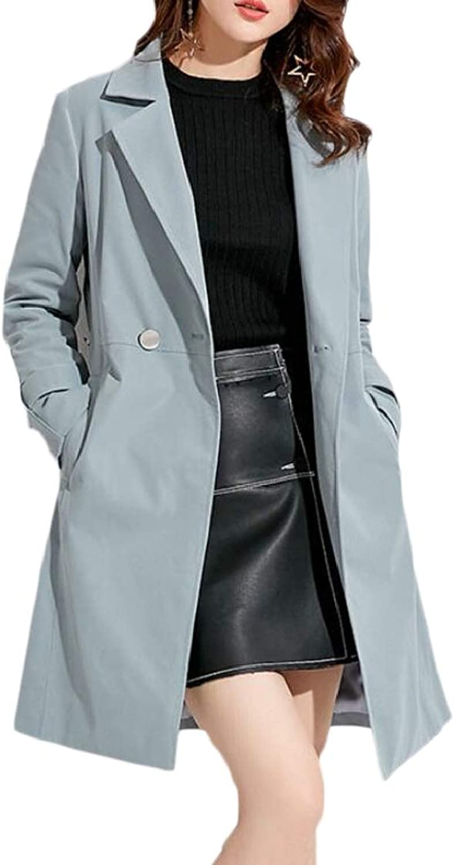 PandapangCA Women Pocket Classic Buttons Windproof Lapel Neck Trenchcoats Jacket