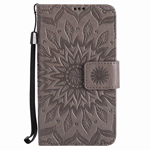Yiizy Handyhülle für Nokia Lumia 630 Hülle, Sonnenschein Blütenblätter Entwurf PU Ledertasche Beutel Tasche Leder Haut Schale Skin Schutzhülle Cover Stehen Kartenhalter Stil Schutz (Grau)