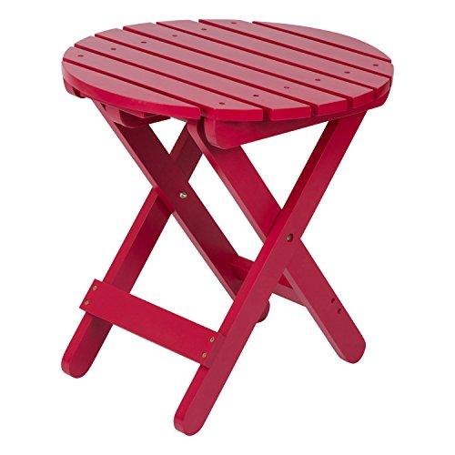 Shine Company Adirondack Round Folding Table, Tomato Red Cedar Outdoor Coffee Table