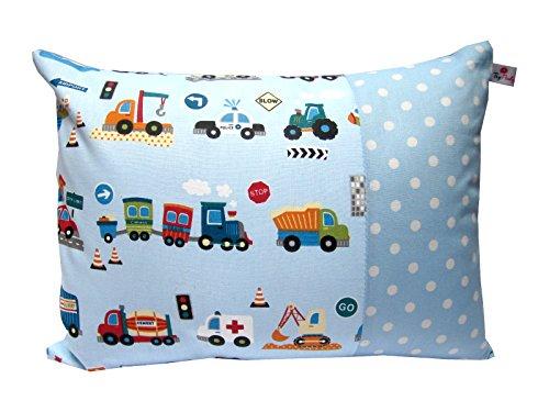 TryPinky®, Federa per cuscino per bambini, 30 x 40 cm, motivo: automobili su sfondo...