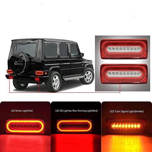 Luces traseras de estilo dinámico Ben LED lente transparente 3 en 1 rojo ámbar LED luz de freno intermitente luz trasera para G-class W463 G500 G55 AMG G550 1990-2015 lámpara trasera