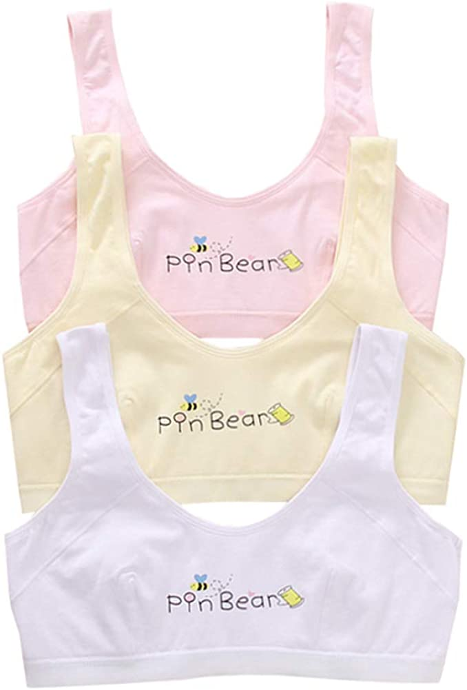 Age 10-16 Girl's Thin Padding Crop Training Bra Pattern Cotton Pullover Bralette Set