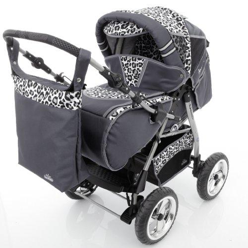 Chilly Kids iCaddy Kombikinderwagen (Regenschutz, Moskitonetz, Getränketablett, Wickelunterlage) 39 Graphit & Snow Leopard