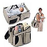 Nuoyi 3-in-1-Universal-Babyreisetasche: Tragbares Wiegenbett, Wickelstation und Wickeltasche für Neugeborene oder Kleinkinder. Reißverschlusstaschen,Brown