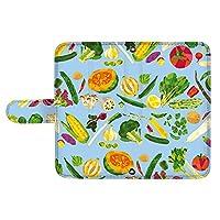 スマQ iPhone11Pro iPhone 11 Pro カード スマホケース 手帳型 Apple アップル アイフォン イレブン プロ (E.ブルー) 野菜 イラスト パターン ami_vd-0243_sp