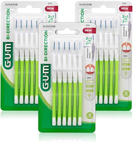 GUM BI-DIRECTION Scovolini Interdentali / 2 scovolini in 1 grazie al movimento a 90° della testina/Facile accesso ai denti posteriori/Verde/Misura 0.7 mm / 3 Confezioni da 6 pz