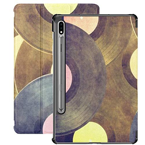 Funda para Galaxy Tab S7 Funda Delgada y Liviana con Soporte para Tableta Samsung Galaxy Tab S7 de 11 Pulgadas Sm-t870 Sm-t875 Sm-t878 2020 Release, Vintage Musical Background Vinyl Record On